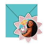 Disney Vaiana uitnodigingen inclusief envelop en afbeelding van Vaiana en Pua