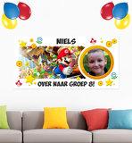 Super Mario Gepersonaliseerde muurbanner nieuwe klas voorbeeld