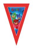 Gepersonaliseerde vlaggenlijn PJ Masks thema design voorbeeld