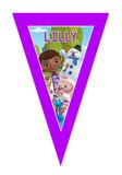 Gepersonaliseerde vlaggenlijn Speelgoed Dokter thema design voorbeeld