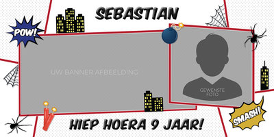 Gepersonaliseerde muurbanner Spiderman thema