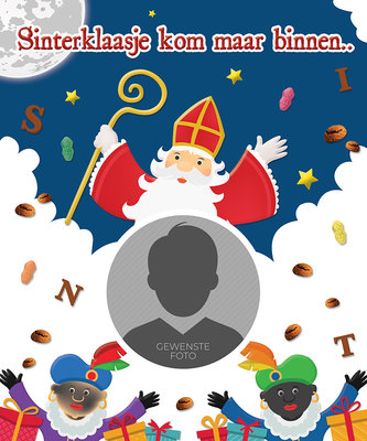 Sinterklaas poster SINTERKLAASJE KOM MAAR BINNEN