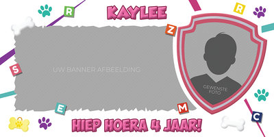 Gepersonaliseerde muurbanner Paw Patrol thema Skye & Everest