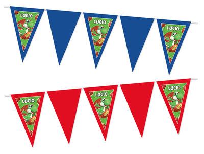 Gepersonaliseerde vlaggenlijn Super Mario thema Yoshi