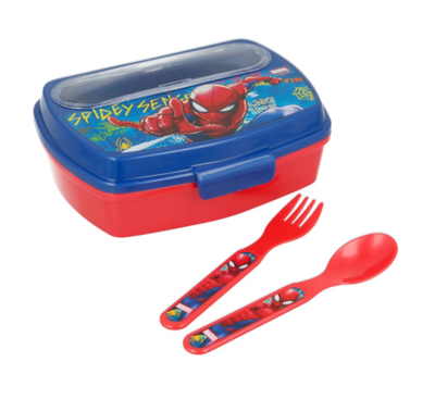 Spiderman broodtrommel - lunchbox met bestek