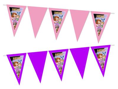 Gepersonaliseerde vlaggenlijn Sofia het Prinsesje thema