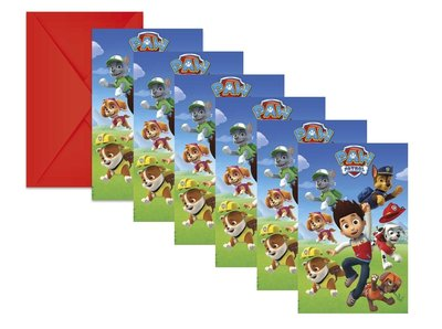 Paw Patrol uitnodigingen met envelop