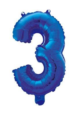 Folie ballon cijfer 3 blauw