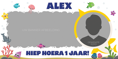 Gepersonaliseerde muurbanner Baby Shark thema