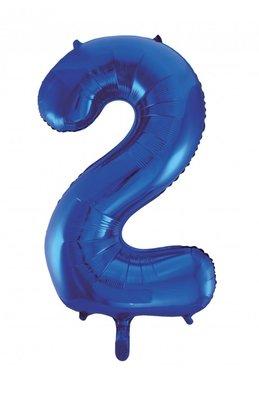 Folie ballon cijfer 2 blauw