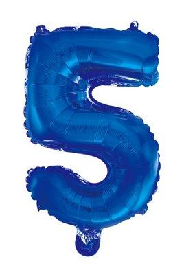 Folie ballon cijfer 5 blauw