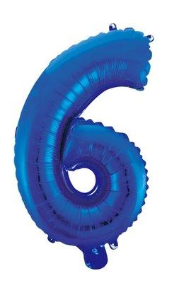 Folie ballon cijfer 6 blauw