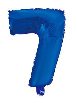 Folie ballon cijfer 7 blauw