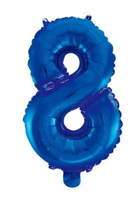 Folie ballon cijfer 8 blauw
