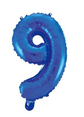 Folie ballon cijfer 9 blauw