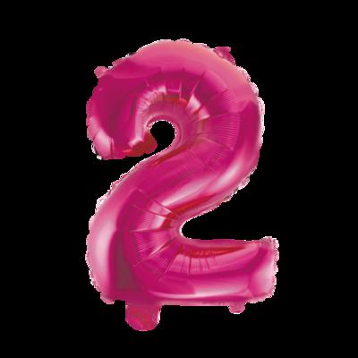 Folie ballon cijfer 2 roze