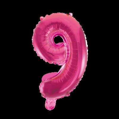 Folie ballon cijfer 9 roze