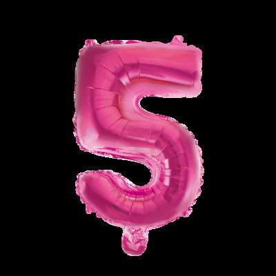 Folie ballon cijfer 5 roze