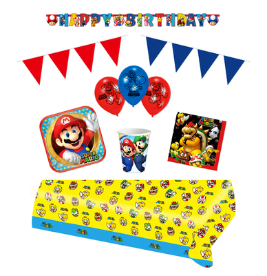Super Mario feestpakket Deluxe - pakket voor 8 personen