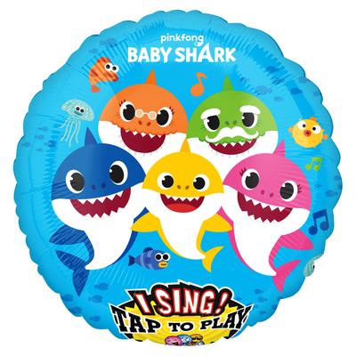 Baby Shark folie ballon met Muziek