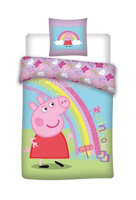 Peppa Pig dekbedovertrek 140x200cm Rainbow