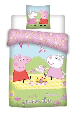 Peppa Pig peuter dekbedovertrek 100x135cm Friends