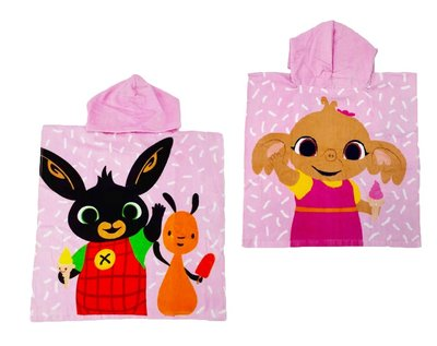 Bing het konijn poncho 55x110cm roze