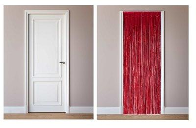 Deur decoratie slinger rood metalic