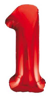 Folie ballon cijfer 1 rood 86cm