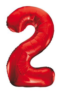 Folie ballon cijfer 2 rood 86cm