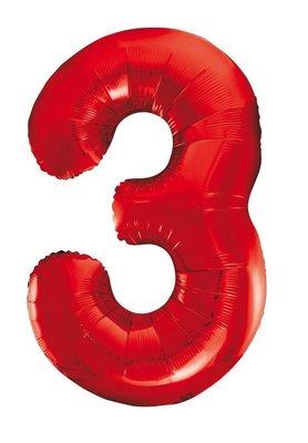 Folie ballon cijfer 3 rood 86cm