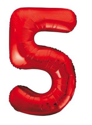 Folie ballon cijfer 5 rood 86cm
