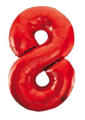 Folie ballon cijfer 8 rood 86cm