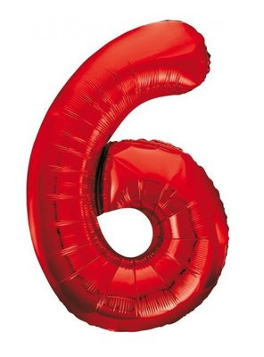 Folie ballon cijfer 6 rood 86cm