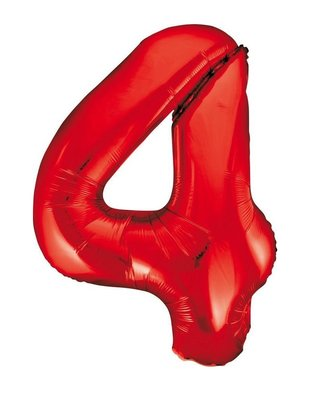 Folie ballon cijfer 4 rood 86cm