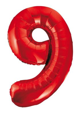 Folie ballon cijfer 9 rood 86cm