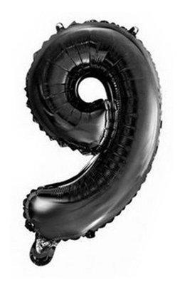 Folie ballon cijfer 9 zwart