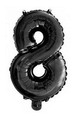 Folie ballon cijfer 8 zwart
