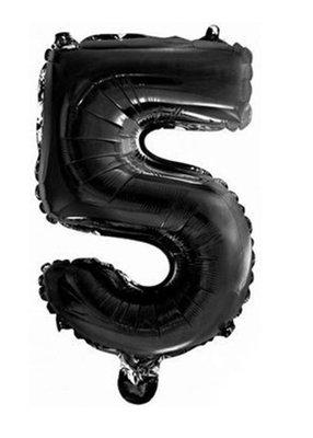 Folie ballon cijfer 5 zwart
