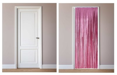 Deur decoratie slinger roze metalic