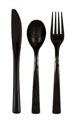 Plastic bestek unikleur zwart