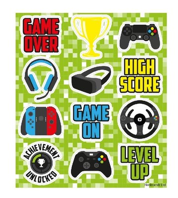 Gaming stickervel met 12 unieke gamers stickers