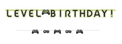Gaming Level UP verjaardag slinger 350cm lang