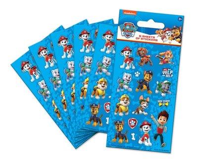 Paw Patrol stickervellen set van 6