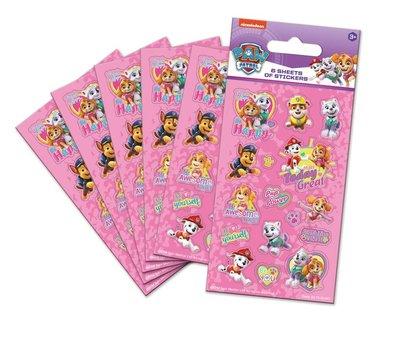 Paw Patrol stickervellen set van 6 roze