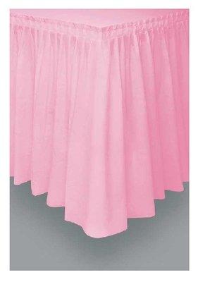 Tafelrok unikleur roze plastic 426cm lang