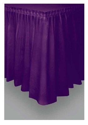 Tafelrok unikleur paars plastic 426cm lang