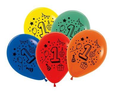 Latex cijfer ballonnen NR 1 gemengde kleuren 30cm groot