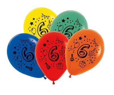 Latex cijfer ballonnen NR 6 gemengde kleuren 30cm groot