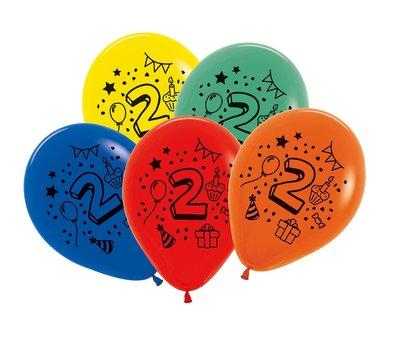 Latex cijfer ballonnen NR 2 gemengde kleuren 30cm groot
